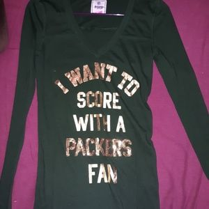 Victoria Secret pink Greenbay Packers bling top